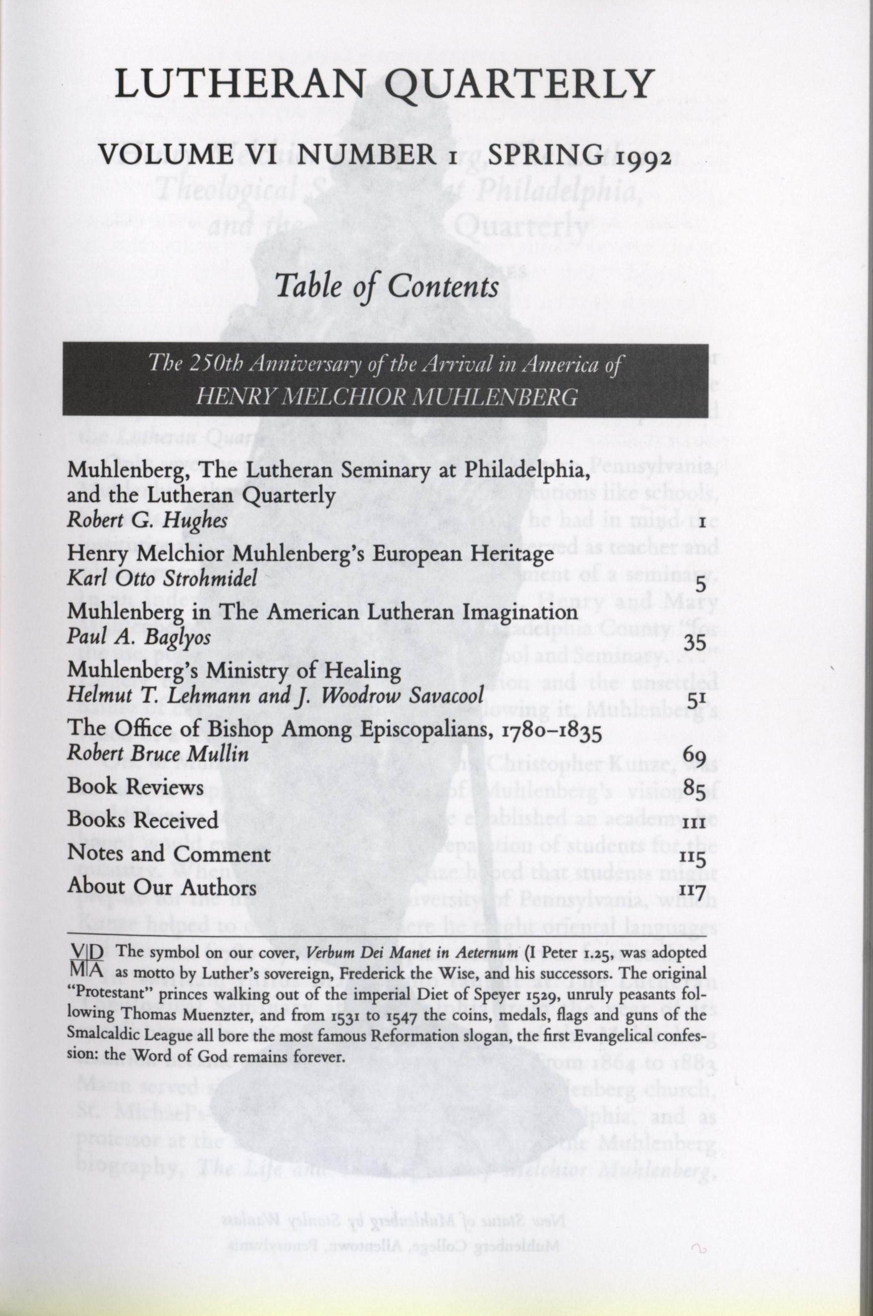 muhlenberg table of contents lutheran quarterly