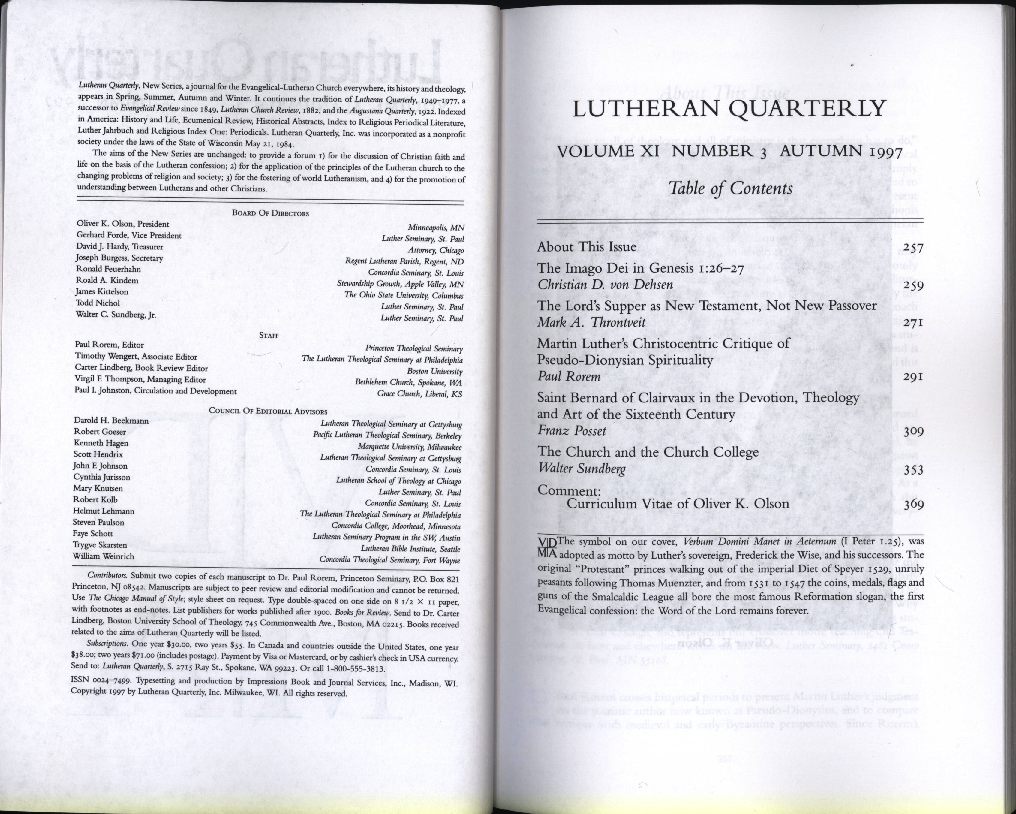 Table of Contents 1997 autumn lutheran quarterly