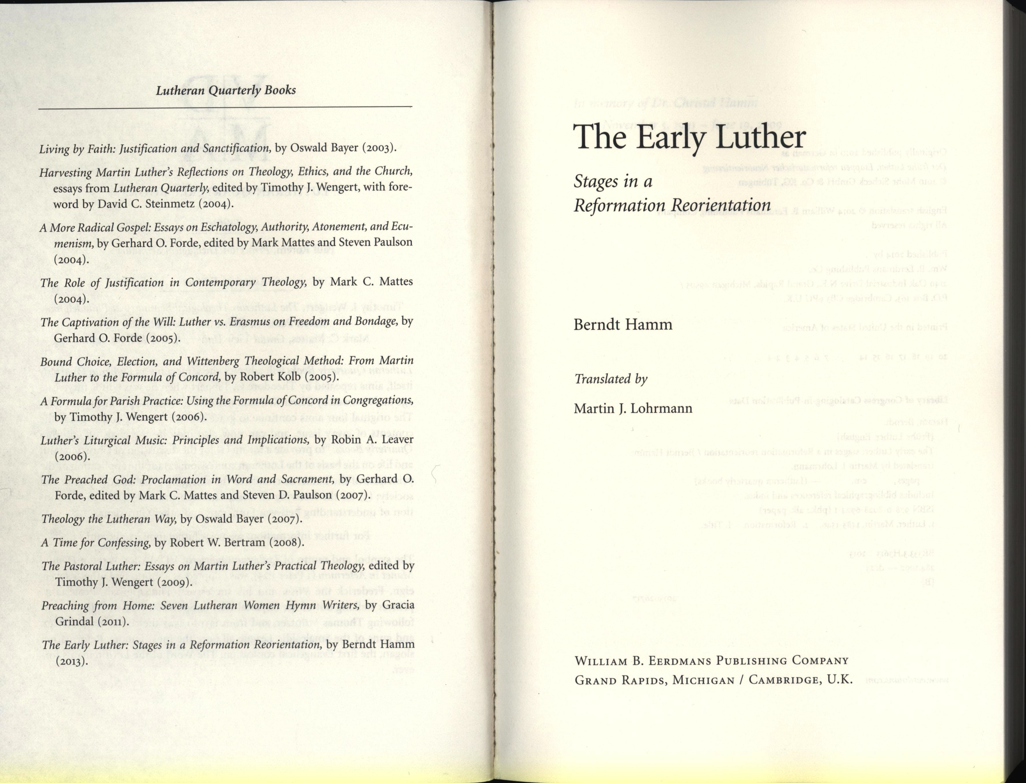 lutheran quarterly book list early luther