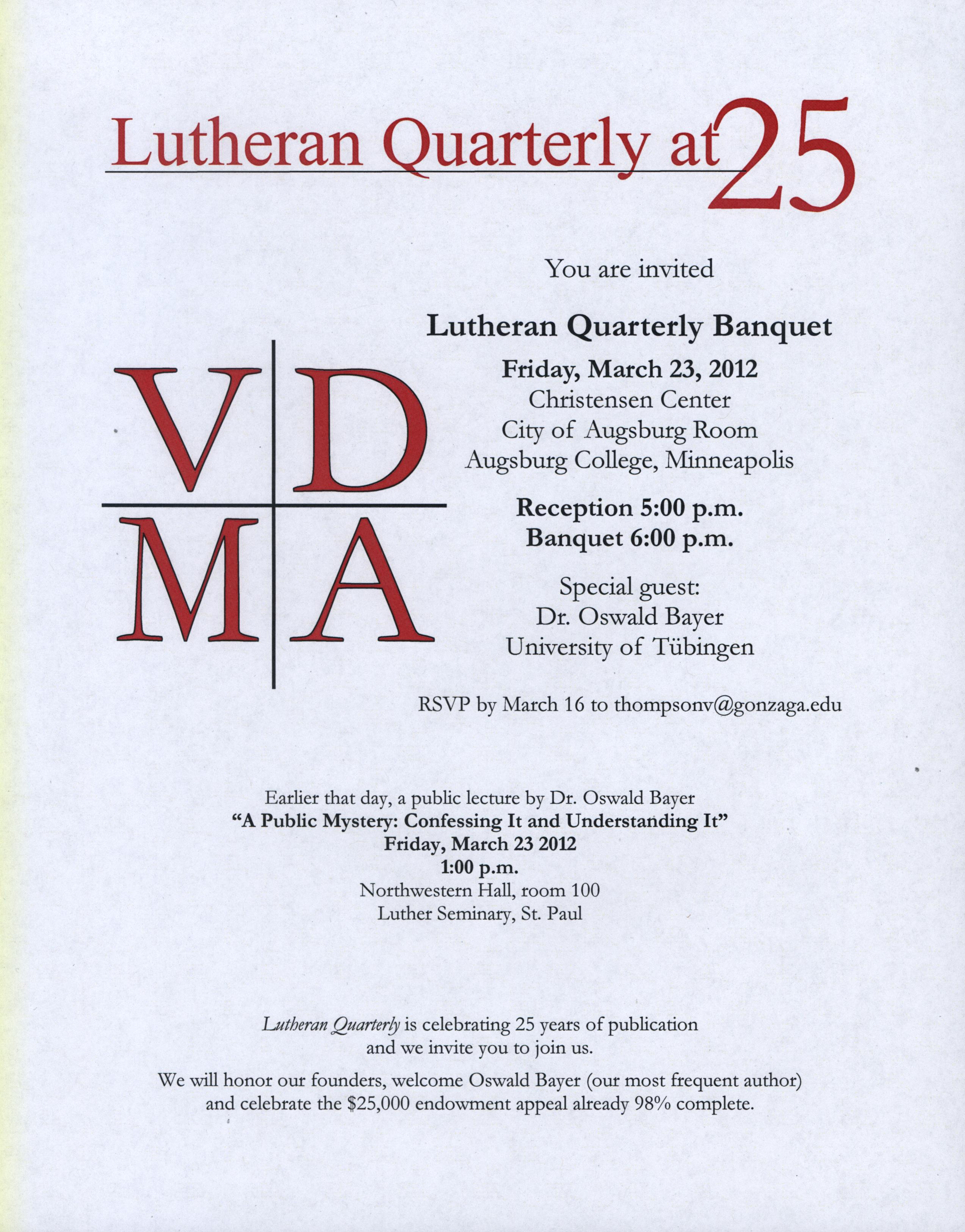 Banquet Announcement lutheran quarterly 25th anniversary