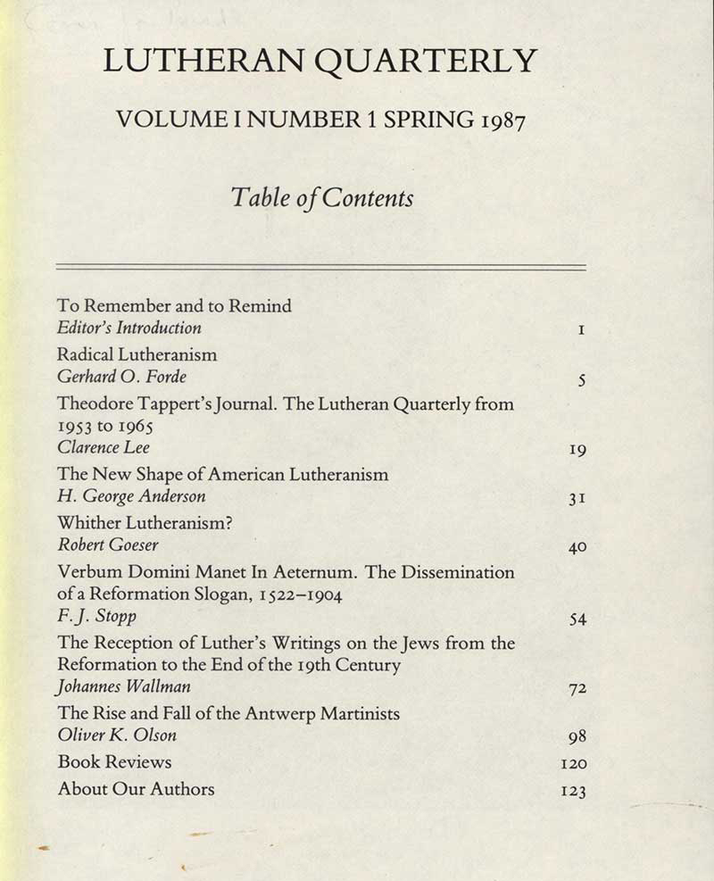 1987 Table of Contents